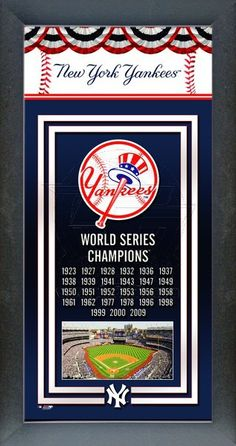 New York Yankees World Series Championship Banner framed picture with logo, Yankee Stadium and years they won the World Series