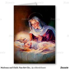 "Merry Christmas. Customizable Fine Art Christmas Greeting Cards. ""Madonna and Child"" , Vintage Magazine Illustration, circa 1935 . Matching cards, postage stamps and other products available in the Christmas & New Year / Fine Art Category of the oldandclassic store at zazzle.com"