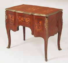 """LOUIS XV STYLE MARQUETRY AND BRONZE MOUNTED FIVE DRAWER BUREAU DE DAME;  31""""H X 36""""W X 22""""D"""