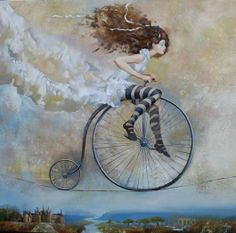 whimsical artwork. art. painting. unicycle