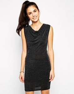 Pussycat London Cowl Neck Dress in Shimmer Fabric