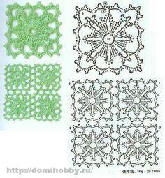 Square crochet motifs. Knitting - Knitting patterns, motifs, and a description of the scheme