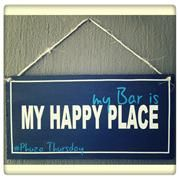 Happy Place Sign. Bar My Happy Place, Plywood, Bar, Signs, Hardwood Plywood, Shop Signs, Sign, Wood Veneer