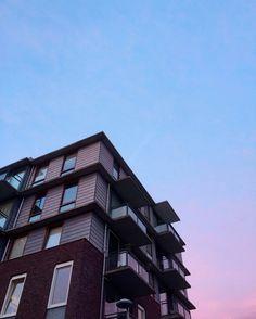 Colourful sky apartments de Oeverlanden, Netherlands