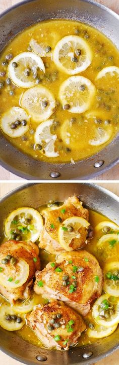 Italian Chicken Picatta - pan-fried chicken thighs with garlic, lemon, and capers in a juicy chicken broth. So easy to make, and the chicken comes out moist and juicy every time!