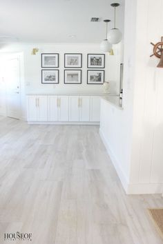 The House of Silver Lining: Beach Cottage Renovation Reveal {Dining Room} - flooring Grey Wood Tile, Wood Tile Floors, Kitchen Flooring, White Wash Laminate Flooring, White Hardwood Floors, White Flooring, Light Grey Wood Floors, Ceramic Wood Tile Floor, Wood Tile Kitchen