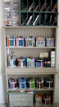 Art Storage Ideas Organisation Room Organization Ideas For 2019 Craft Storage Solutions, Craft Room Storage, Office Organization, Art Storage, Storage Ideas, Craft Rooms, Storage Shelves, Organizing School, Marker Storage