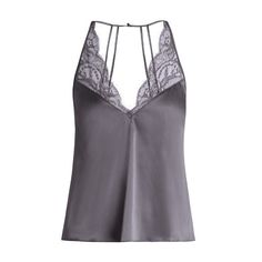 Fleur of England Eclipse silk-blend satin cami top (330 BRL) ❤ liked on Polyvore featuring tops, shirts, cami, blusas, grey, gray shirt, camisole tank top, cami shirt, satin camisole tops and satin tank top