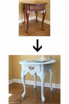 This is a gorgeous list of blue painted furniture makeovers! So many easy, great ideas! This end table makeover is great, click through to see the rest! #greenwithdecor #furnituremakeover #bluepaint Painted Outdoor Furniture, Diy Furniture Building, Diy Furniture Projects, Paint Furniture, Table Furniture, Furniture Makeover, Diy Projects, Painted End Tables, Diy End Tables