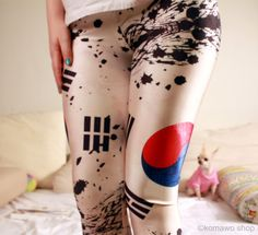 KPOP KOREA LEGGINGS / South Korea / Korean Flag Leggings/ Kpop Clothing /Bigbang / Exo / National Flag Country Cycling leggings Tights dx88 (16.90 USD) by KOMAWO