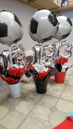 With out the soccer balloon for table decorations Soccer Birthday Parties, Sports Birthday, Soccer Party, Birthday Cakes, Soccer Centerpieces, Birthday Party Centerpieces, Table Decorations, Soccer Crafts, Soccer Decor