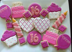 1 Dozen Sweet 16 Birthday Cookies Pink and by NatSweetsCookies, $38.00