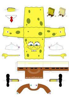Spongebob Papercraft by kamibox on DeviantArt 3d Paper, Paper Toys, Origami Paper, Spongebob Crafts, Spongebob Birthday Party, Paper Models, Paper Model Car, Printable Paper, Diy And Crafts