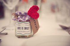 Crochet Heart Favour Stylish Fun Humanist Wedding http://www.ruby-roux.com/