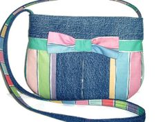 Small Upcycled Denim Jean Purse Repurposed by SuzqDunaginDesigns, $30.00