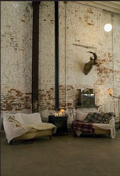 Home decor mixed styles on pinterest karim rashid for Distressed brick wall mural