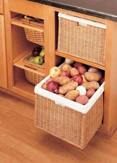Good way to store fruits and vegetables that are not supposed to be in the fridge. (Melons, potatoes, onions, apples, oranges)