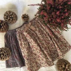 Image of Easy Skirt- cream or grey millefleurs corduroy