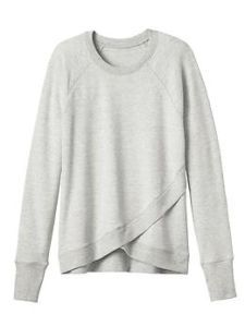 """Criss Cross Sweatshirt <3 Athleta Been coveting this sweatshirt from afar...love the split front.  I like pieces that are traditional with a """"twist"""" that makes them appear fresh and unique."""