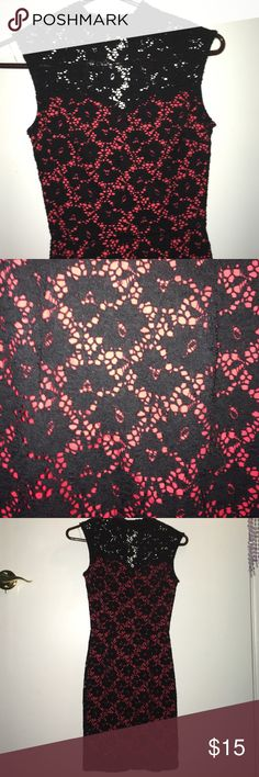 Black and Red Lace Party Dress Really comfortable, tight lace dress. High neck line, and three buttons behind neck. Love Culture Dresses