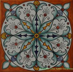 Deruta Italian Hand Painted Tile - Orange with Light Blue Spear Leaves - Decorative or Backsplash Tile - 6 inch x 6 inch cm x 15 cm) Painting Ceramic Tiles, Tile Art, Ceramic Art, Glazes For Pottery, Ceramic Pottery, Turkish Pattern, Art Deco Paintings, Italian Tiles, Art Populaire