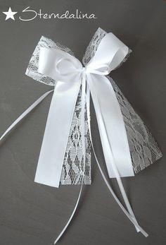 Hochzeitsdeko - ♥ 10 Antennenschleifen Autoschleifen Spitze Lace ♥ - ein Designerstück von Sterndalina bei DaWanda