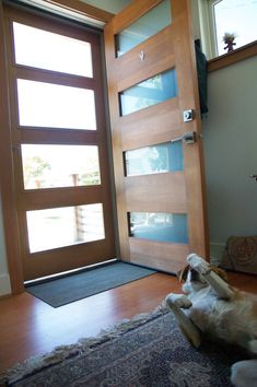 A storm/screen door that matches the actual door… Dog-approved. A storm/screen door that matches the actual door… Image Size: 2000 x 3008 Source Modern Exterior Doors, Mid Century Modern Door, Security Screen Door, Modern House, House Exterior, Entrance Doors, Front Door With Screen, Modern Screens, Screen Door