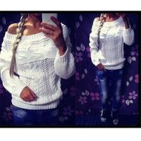 Wish | 2015 Newest Women Casual Sexy Solid Pullover Long Sleeves Hollow Out Loose Sweater Slash Neck Sweater