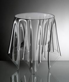 Illusion Side Table by Essey it is quite possible. Illusion is a handmade side table of 3 mm acrylic. The matter is that it looks like a table cloth on the round table. Lucite Furniture, Acrylic Furniture, Furniture Design, Art Furniture, Acrylic Side Table, Kartell, Interiores Design, Clear Acrylic, A Table