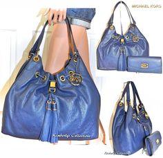 MICHAEL KORS Large Blue Leather Drawstring Shoulder Satchel Bag & Wallet Set NWT #MichaelKors #SatchelShoulderTote