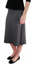 Striped Rayon Skirt - Black/Gray - $19 at DCM Apparel