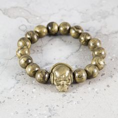 Gold dj skull polymer clay bead bracelet for Man by VonGrega