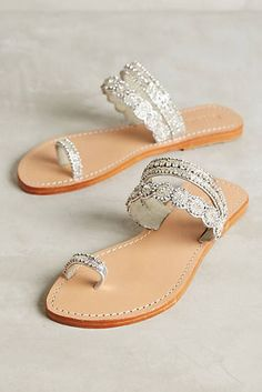 Is it possible to fall in love with a pair of sandals? These jeweled sandals by… Toe Loop Sandals, Shoes Sandals, Pretty Shoes, Beautiful Shoes, Summer Boots, Summer Sandals, Jeweled Sandals, Leather Sandals, Silver Flat Sandals