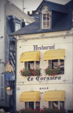Small restaurant in the beautiful old port town of Honfleur, Normandy, France