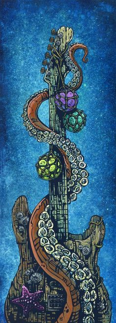 This painting coincided withthereleaseof theSpecial Edition Stratocasters that David designed, he live painted this oceanic guitar-themed piece (along with Day...  *** Love this!!!!!! the spiral of octopus tentacle is legit!