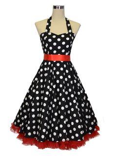 Robe De Bal Style Années 50, Rockabilly, Swing, - Couleur : noire À Pois Blancs Avec Boucle En Ruban Et Jupon: Amazon.fr: Vêtements et acces...