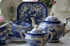 Image result for blue and white abbey tea pots