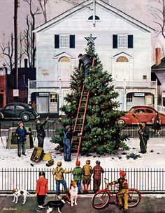 The Blessing of Community  Tree in Town Square  Stevan Dohanos  December 4, 1948