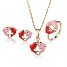 Baby Kids Jewelry Sets 2017 Children Blue Dolphin Gold-Color Ring Earrings Pendant Necklace Free Shipping 7S18K-59 #Affiliate