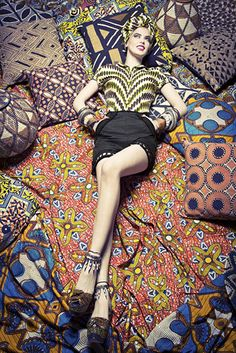 Lena Hoschek, Black Panther Shorts, African fashion, patterned shirt and head wrap