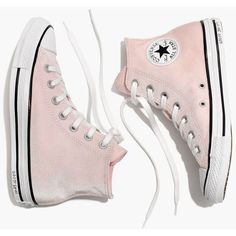 MADEWELL Converse® Chuck Taylor All Star High-Top Sneakers in Velvet (250 RON) ❤ liked on Polyvore featuring shoes, sneakers, converse, pink, arctic pink, high-top sneakers, pink high top sneakers, velvet sneakers, pink sneakers and pink high tops