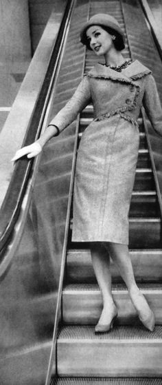 1959 Mademoiselle. This is exactly what I look like when I go down an escalator.