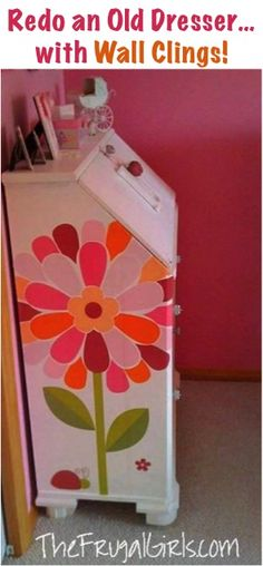 How to Revamp Old Dressers... with Wall Clings! #dressers