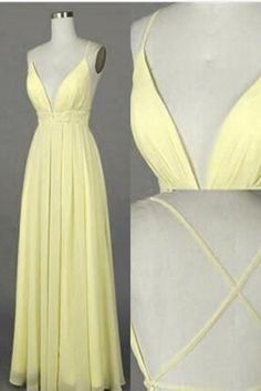 Yellow chiffon V-neck open back long dresses,summer dresses with straps
