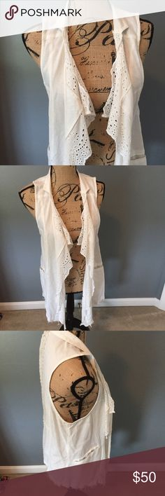 Free People crochet distressed cardigan Beautiful off white detailed cardigan vest from free people. Never worn but no longer have tags attached. Like new condition Free People Tops
