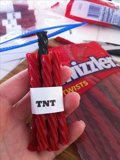 TNT minecraft party treats, So creative! This would be perfect for my brother cause he says TNT all day.