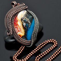 wire wrap pendant,lampwork,artisan glass,copper jewelry,silver jewelry,handmade jewelry,one of a kind jewelry,wire weave, wire work, nicole hanna jewelry