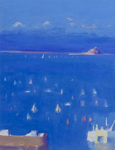 John Miller - Yachts in Mount's Bay - oil on paper John Miller, Modern Art, Contemporary, St Ives, Seascape Paintings, He's Beautiful, Coastal Homes, Beach Art, Yachts