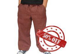 Brown Handmade Linen Trousers