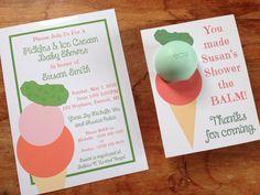 Pickles and Ice Cream Baby Shower invitation 5x7 by CreaseStudio